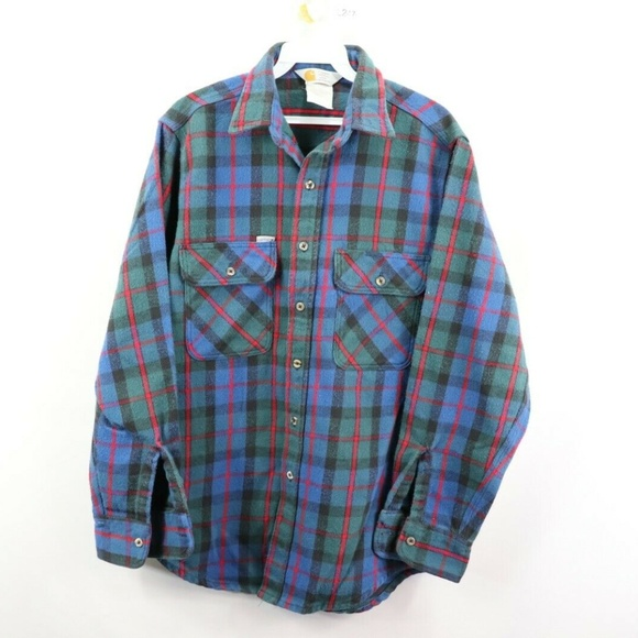outlet for sale 50% off high fashion Vintage Carhartt Thick Flannel Plaid Shirt Blue M